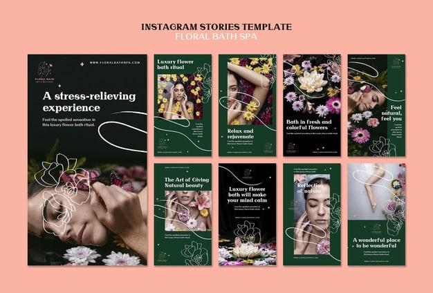 Floral spa instagram stories template Premium Psd