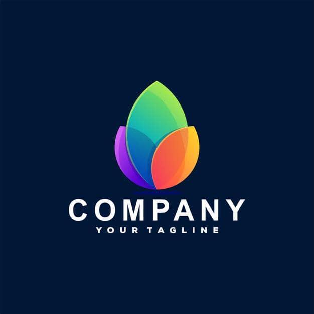 Flower color gradient logo Premium Vector