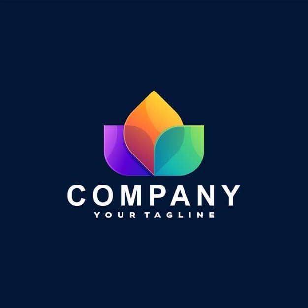 Flower color gradient logo design Premium Vector