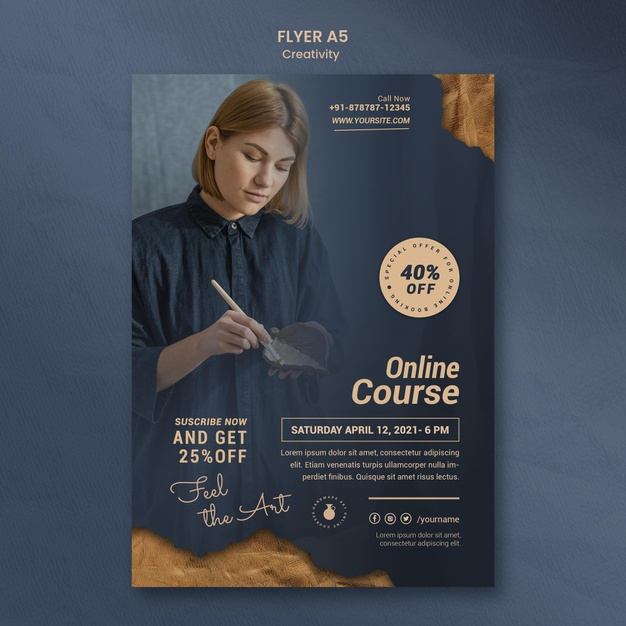 Flyer template for creative pottery workshop with woman Free Psd