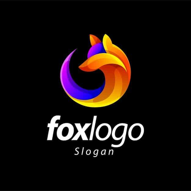 Fox gradient color logo design Premium Vector