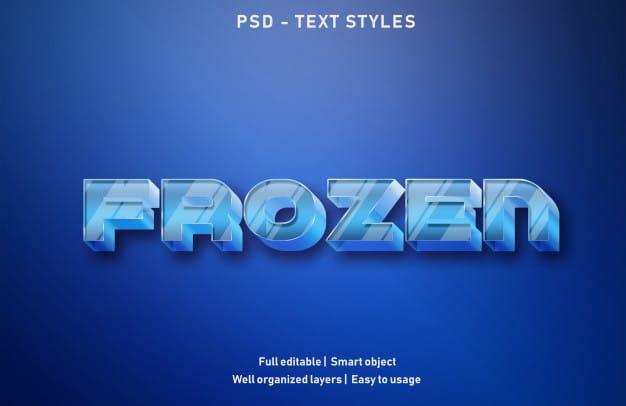 Frozen text effects style editable psd Premium Psd