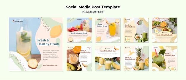Fruit juice social media post template Free Psd