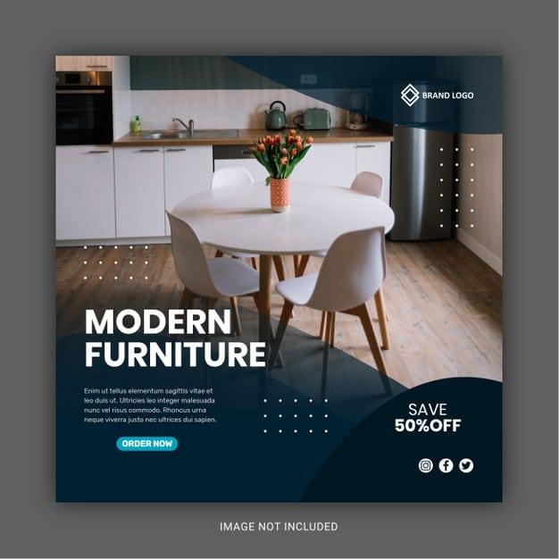 Furniture sale social media banner template Premium Vector
