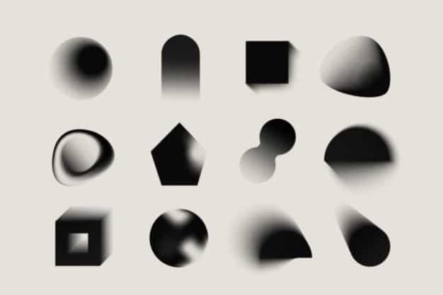 Gradient grainy gradient shapes Free Vector
