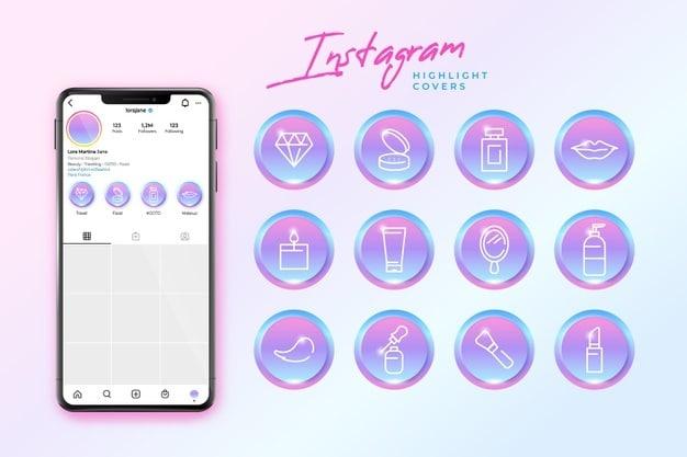 Gradient instagram highlights Premium Vector
