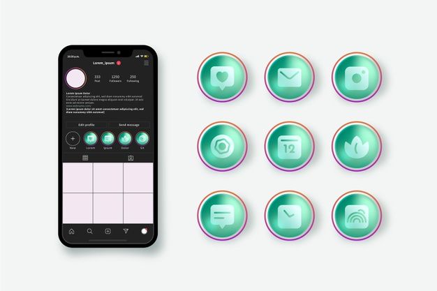 Gradient instagram highlights collection Free Vector