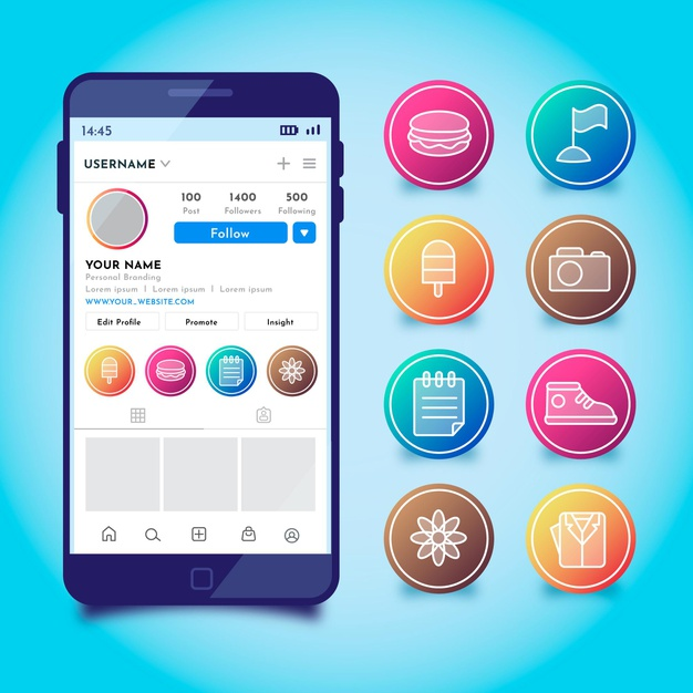 Gradient instagram highlights set Free Vector