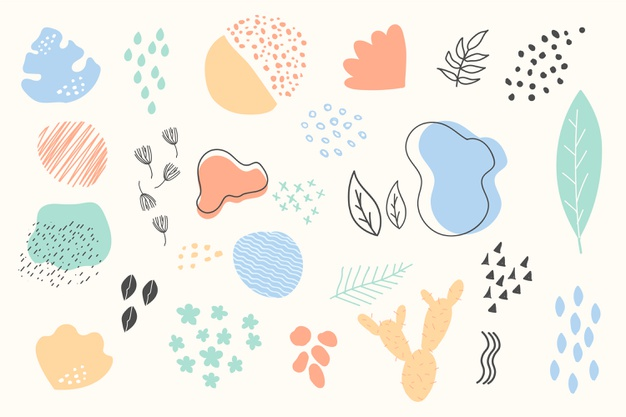 Hand drawn abstract organic shapes background Premium Vector