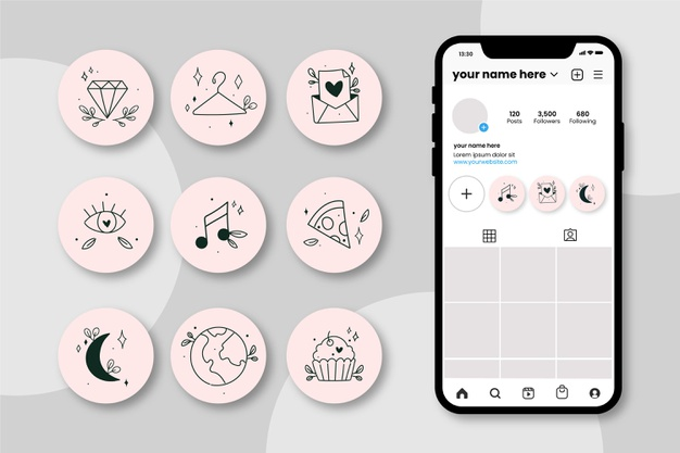 Hand drawn instagram highlights collection Free Vector
