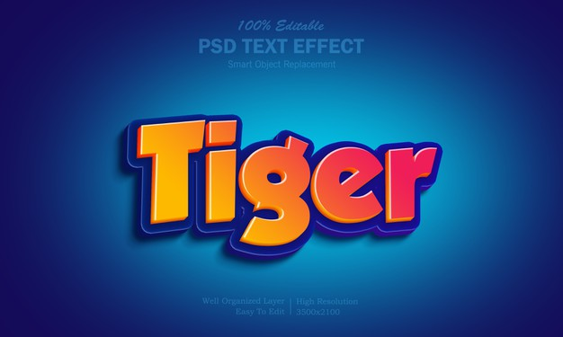 Hot yellow and red gradient tiger text effect Premium Psd