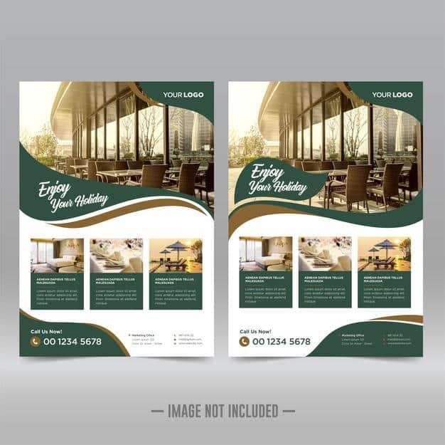 Hotel & resort flyer design template Premium Vector
