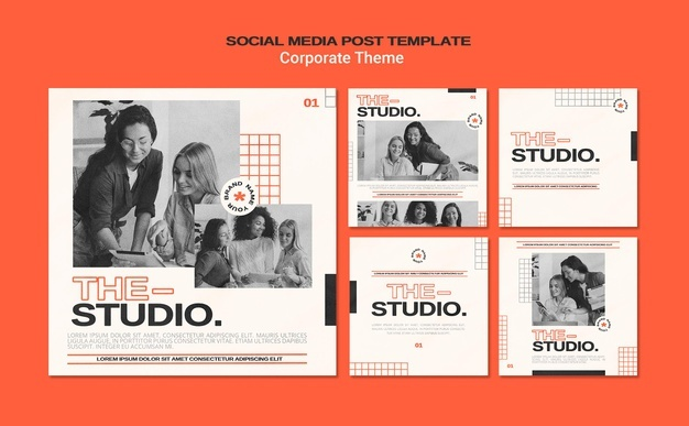 Instagram posts collection for corporate studio Free Psd