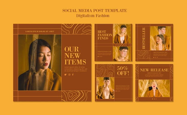 Instagram posts collection for fashion lifestyle Free Psd