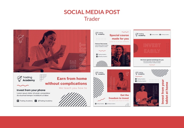 Instagram posts collection for investment trader occupation Free Psd