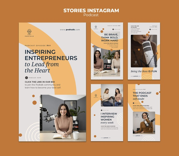 Instagram stories collection with female podcaster and microphone Premium Psd
