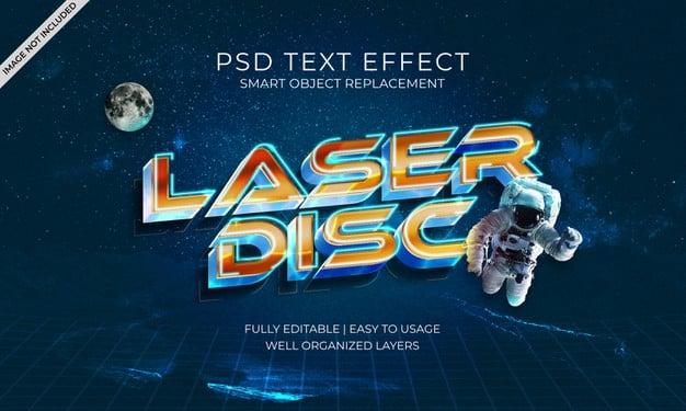 Laser disc text effect Premium Psd