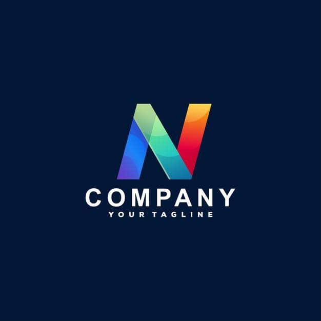 Letter n gradient logo design Premium Vector