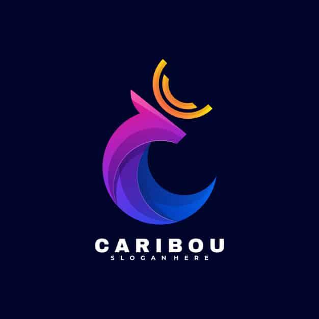Logo caribou gradient colorful style. Premium Vector