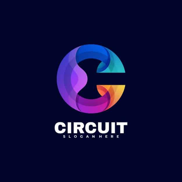 Logo circuit gradient colorful style. Premium Vector