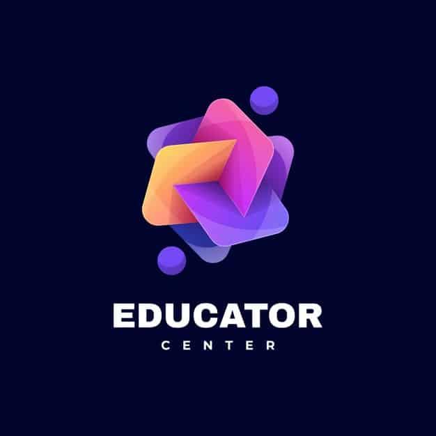 Logo education gradient colorful style. Premium Vector