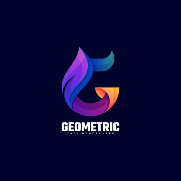 Logo illustration geometric gradient colorful style. Premium Vector