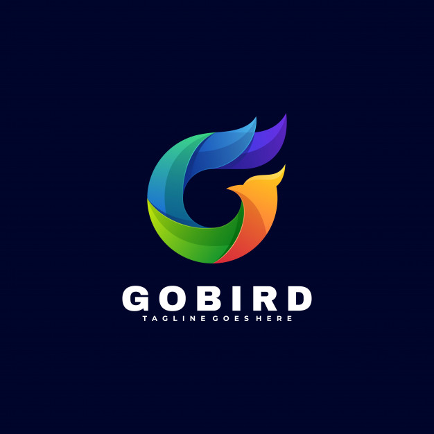 Logo illustration go bird gradient colorful style. Premium Vector
