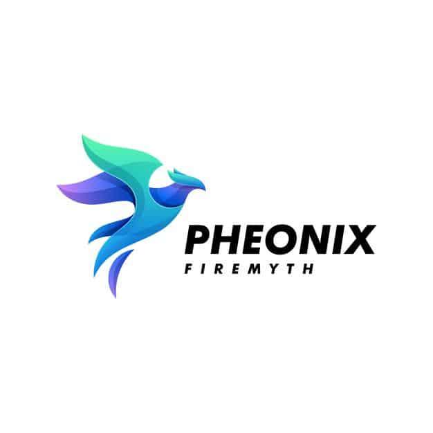 Logo illustration phoenix gradient colorful style. Premium Vector