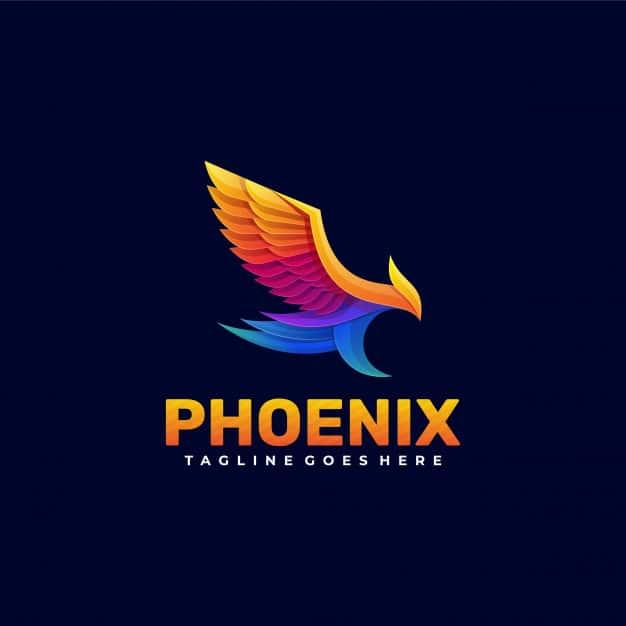 Logo phoenix gradient colorful style. Premium Vector