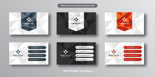 Low poly modern editable business card Premium Vector