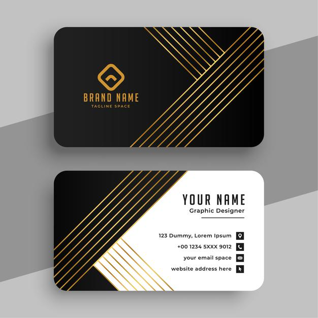 Luxury business card with golden lines Free Vector