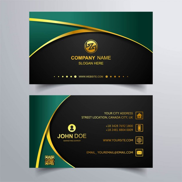 Luxury business card with green background Free Vector
