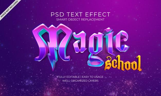 Magic school text effect Premium Psd
