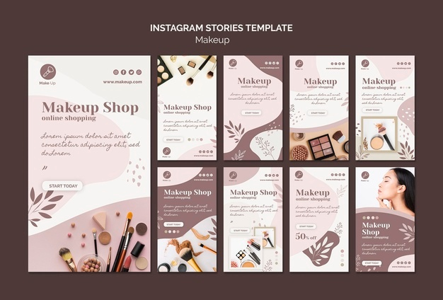 Make-up concept instagram stories template Free Psd