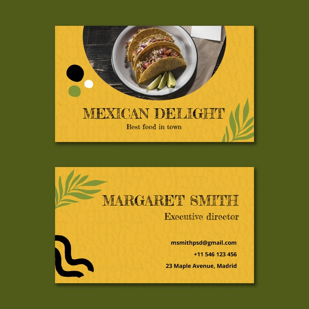 Mexican food horizontal business card Free Vector