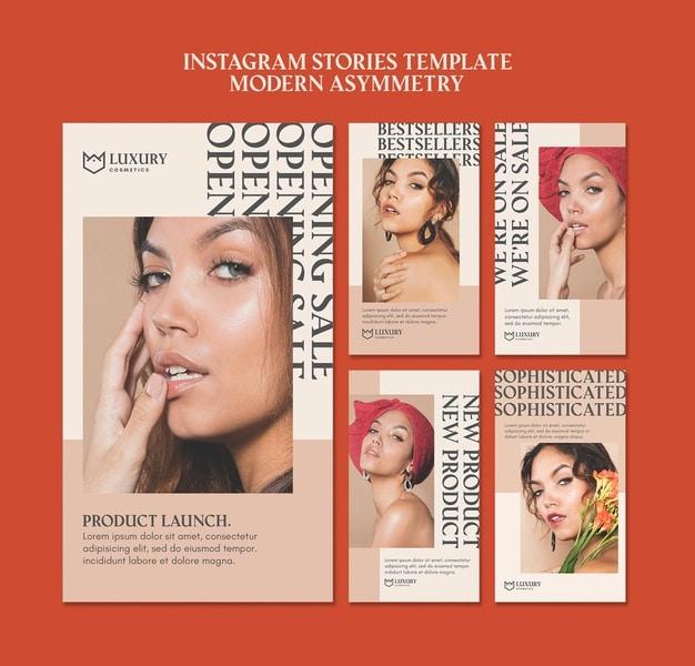 Modern asymmetry instagram stories Free Psd