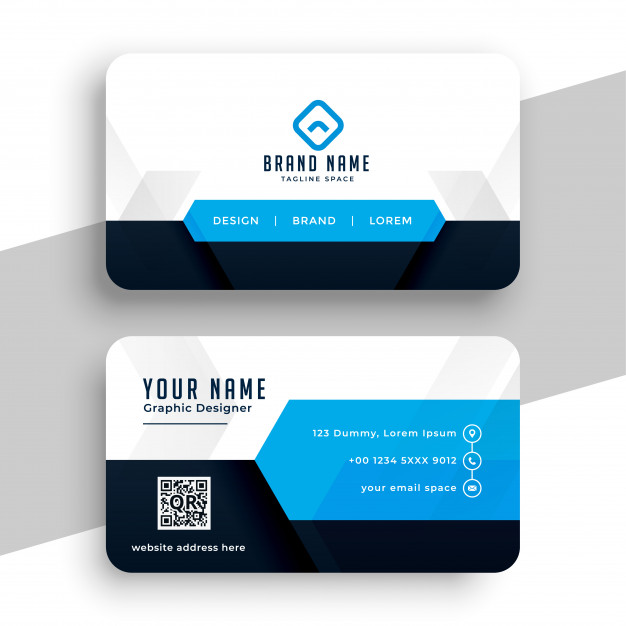 Modern blue professional business card template design Free Vector