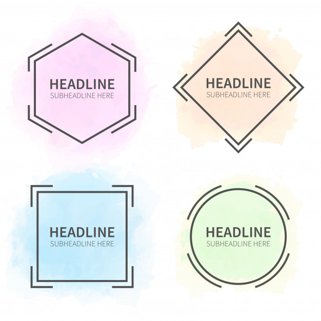 Modern watercolor banner shapes Free Vector