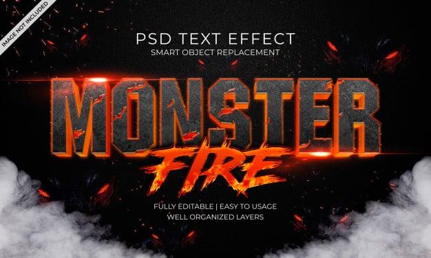 Monster fire text effect Premium Psd