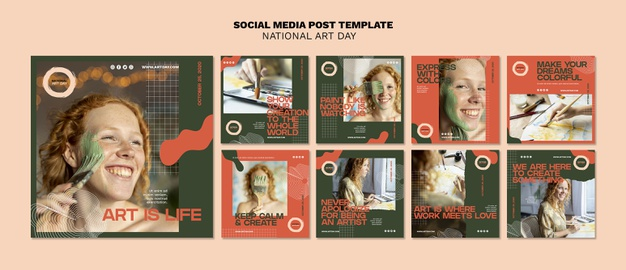 National art day posts template Free Psd