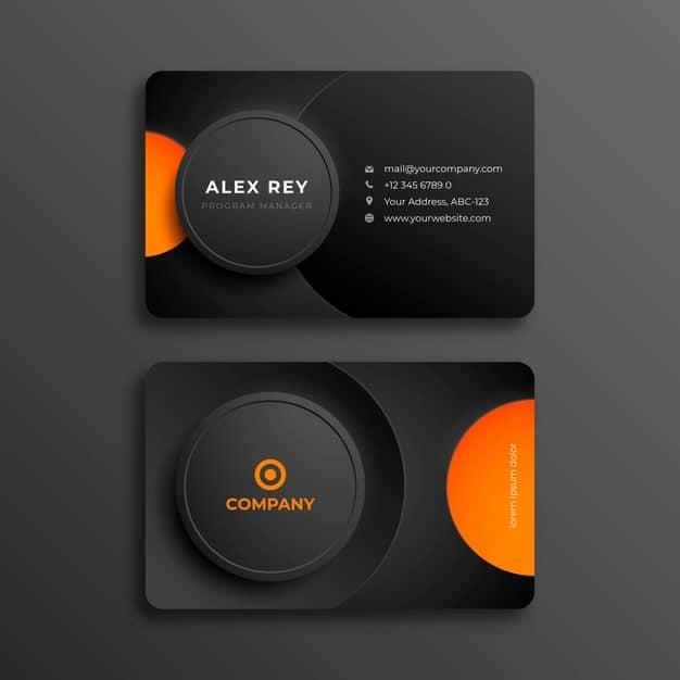 Neumorph business card template Free Vector