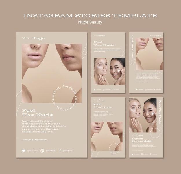 Nude beauty instagram stories template Premium Psd