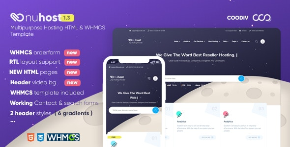Nuhost v1.3 - HTML and WHMCS Template for Hosting