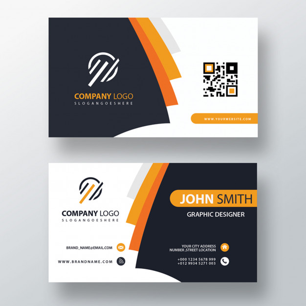 Orange elegant corporate card Free Psd