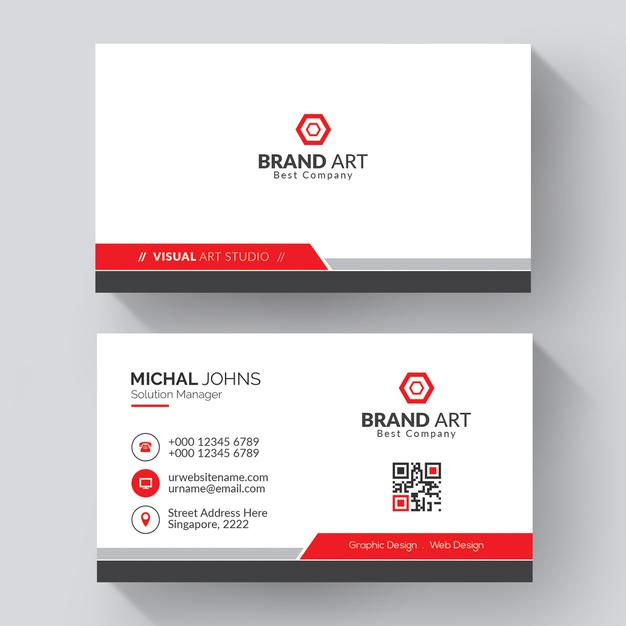Professional business card with red details Free Psd