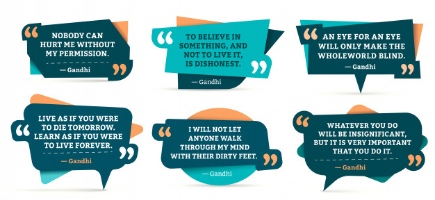 Quote remark frames. gandhi quotation, quotes frame and mention quotations remarks templates set Premium Vector