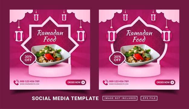 Ramadan food flyer or social media post Premium Vector