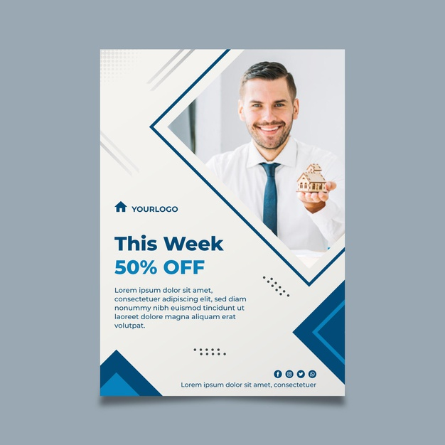 Real estate flyer vertical template Free Vector