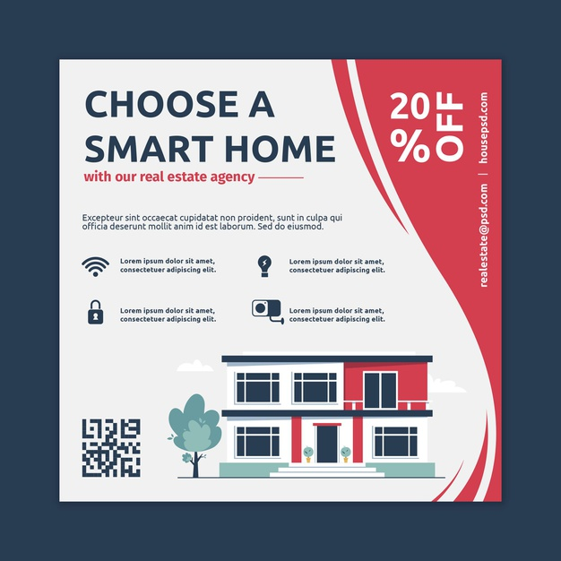 Real estate square flyer Free Vector