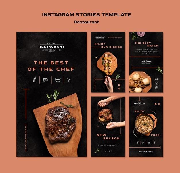 Restaurant promo instagram stories template Free Psd